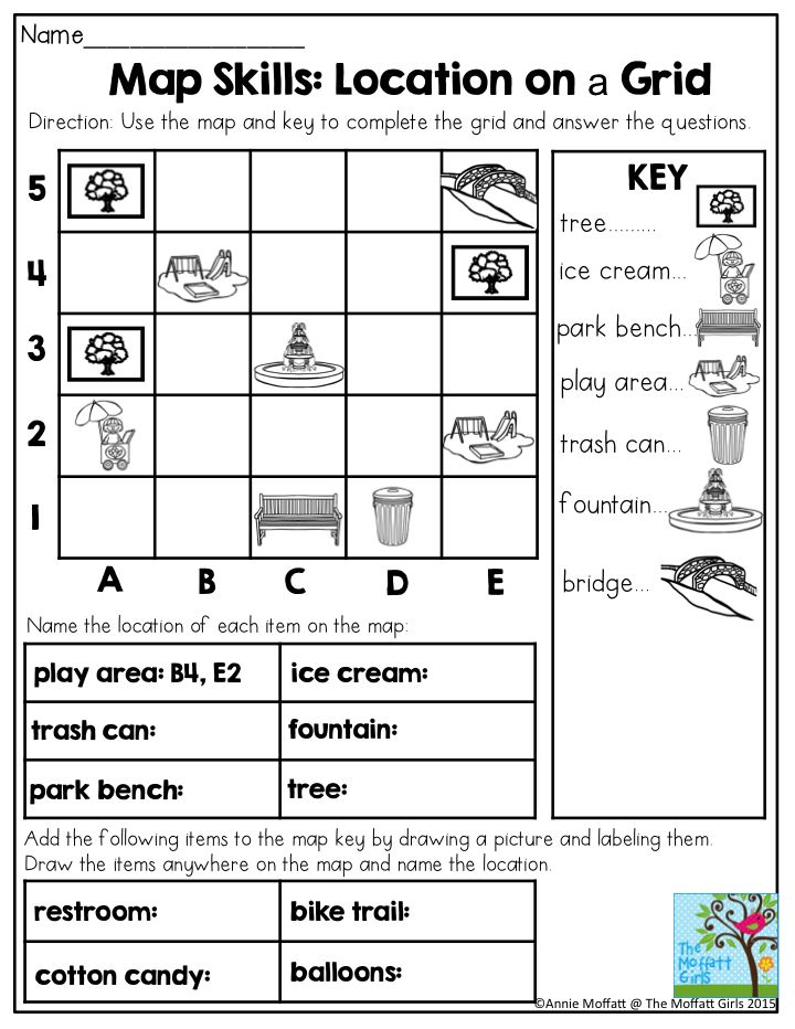 Map Grid Worksheets For Elementary in 2020 (With images