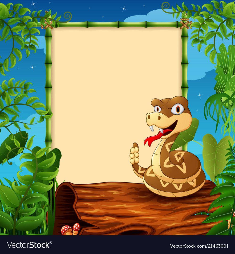 Cartoon rattlesnake on hollow log near the empty f vector