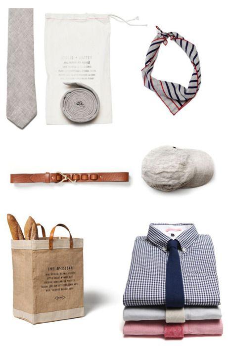 Essentials. #scarf #tie #linen #belt #leather #brown #cream #baguette #paper #bag #shirt #gingham #blue #red #white #men #guy