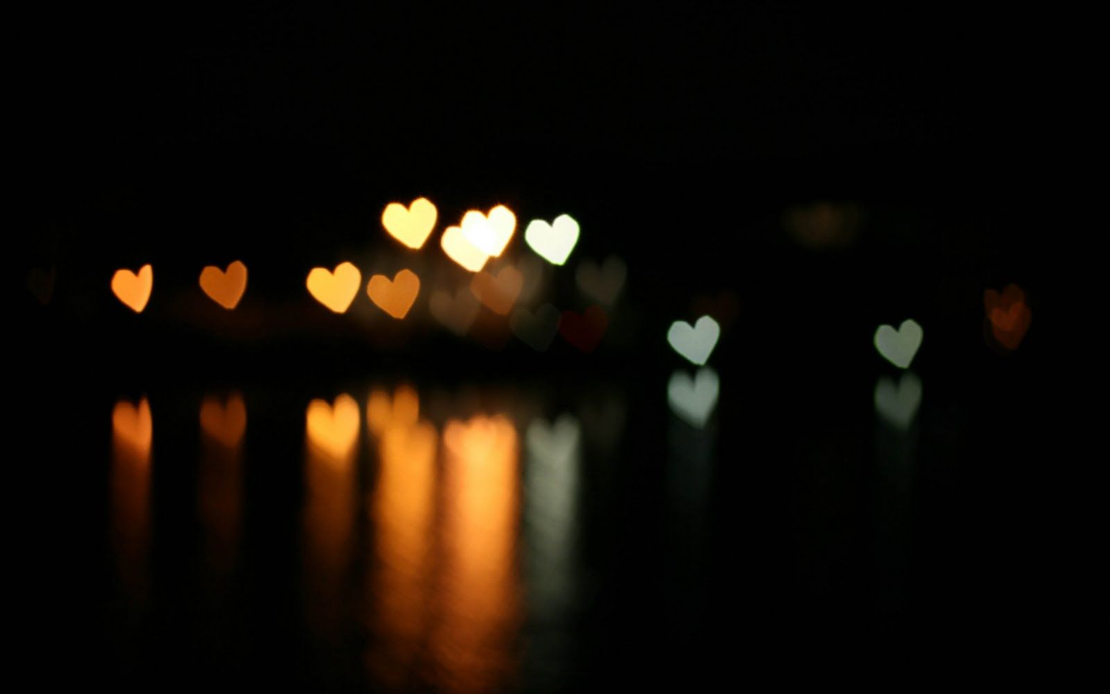 Love Wallpaper Effect Bokeh Hearts Dark Background The Reflection