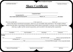 Share certificate template a to z templates pinterest a share certificate template is a document which is issued to the shareholders for certifying his ownership in business shares this certificate is signed yelopaper Images