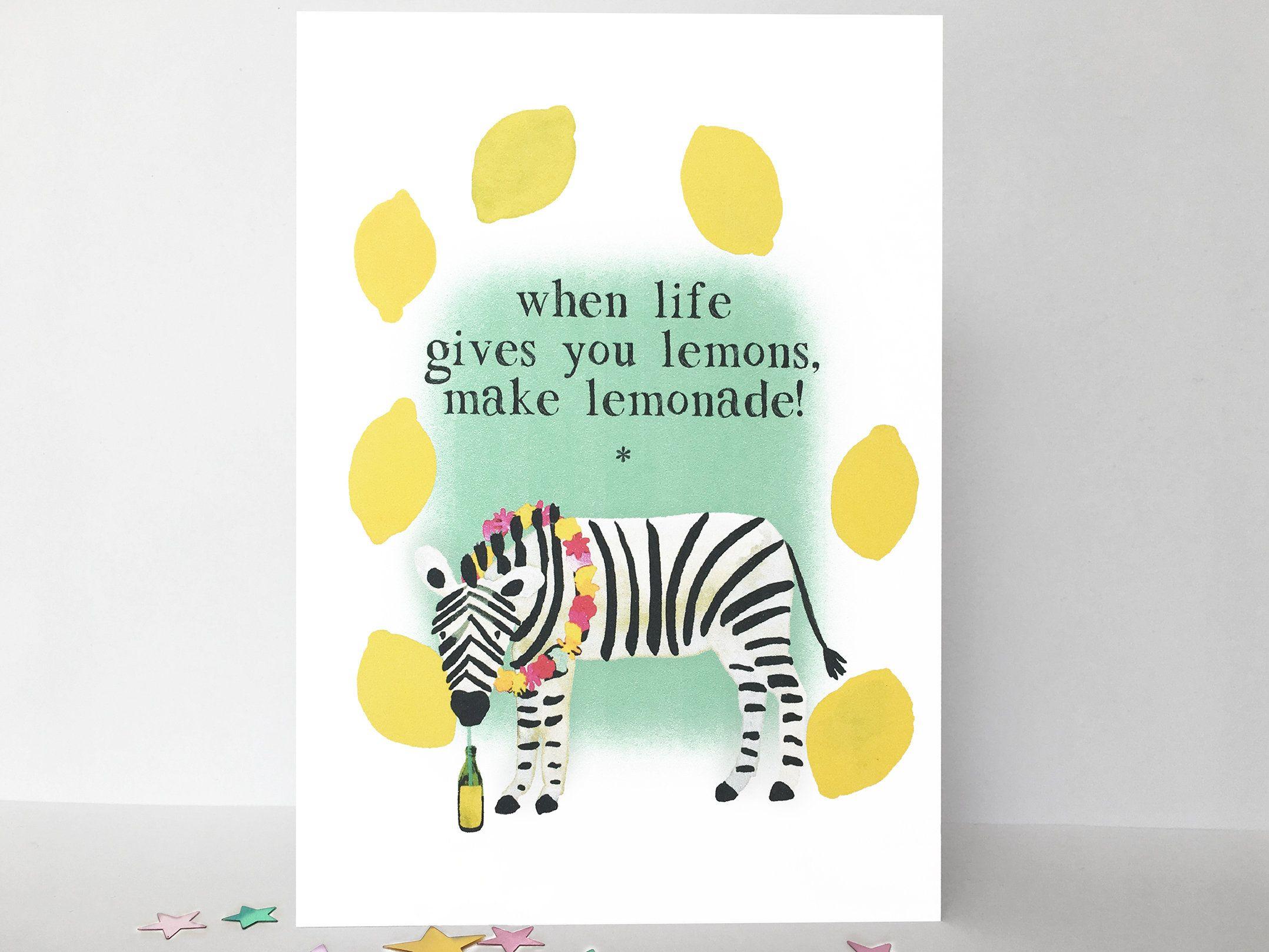 Zebra And Lemons Greetings Card When Life Gives You Lemons