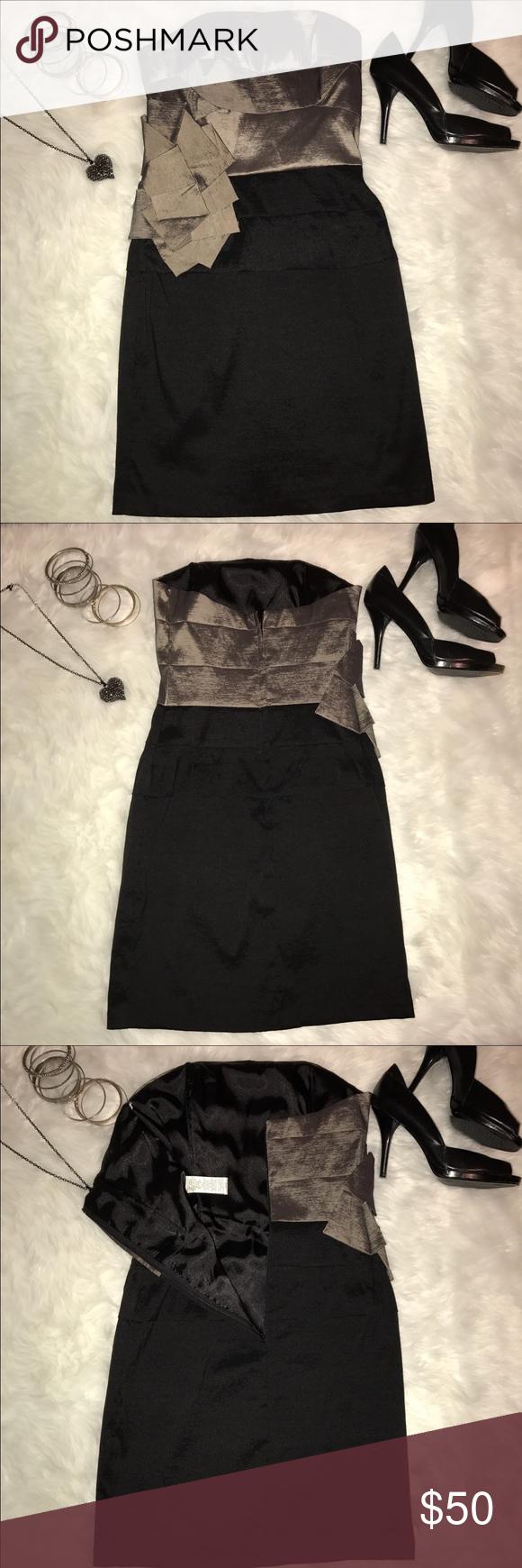 Jessica McClintock Black and Grey Dress | Gray cocktail dress, Gray ...