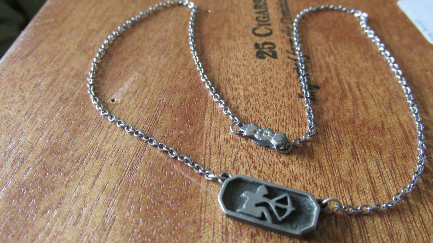 "Vintage PEWTER and Silver Tone SAGITTARIUS NECKLACE 17"" Chain 1950's  Dated Clasp Collectible Uni Sex Zodiac Horoscope Archer Design by GrammiesCupboard on Etsy"