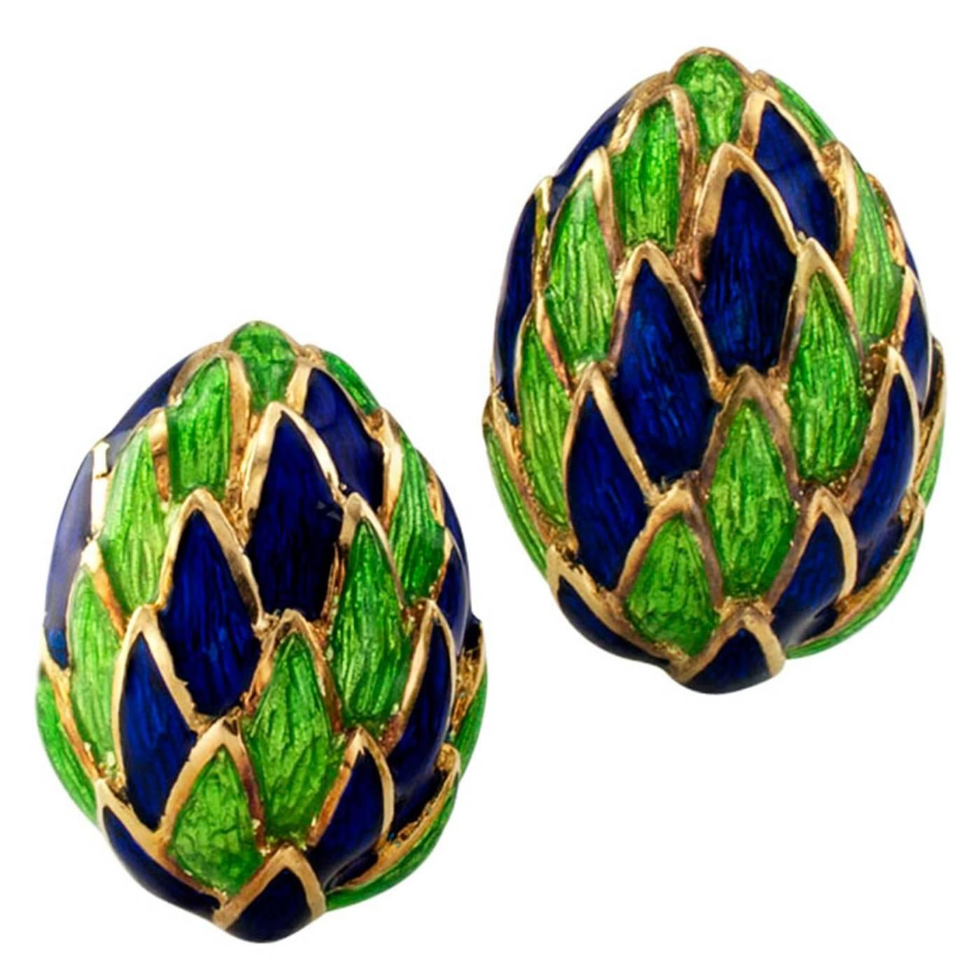 1970s Blue and Green Enamel Gold Clip On Earrings   From a unique collection of vintage clip-on earrings at https://www.1stdibs.com/jewelry/earrings/clip-on-earrings/