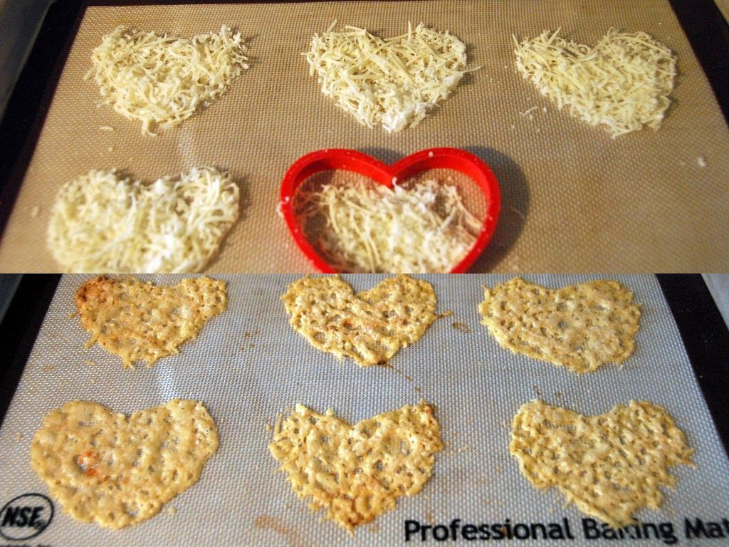 Heart Shaped Parmesan Crisp - Put grated parmesan in a heart shaped cookie cutter on a silicon baking sheet and pat down gently. Bake at 400 for 5 min.