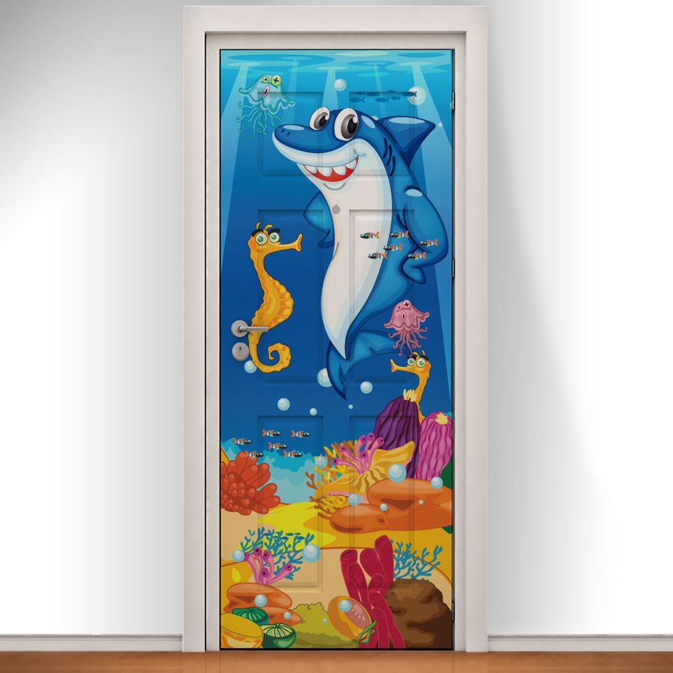 Kids Bedroom Door under the sea printed doodle door. bring any room to life with a