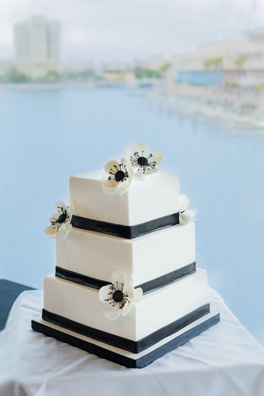 Black and white modern square wedding cake sugar flowers black and white modern square wedding cake sugar flowers hands on dhlflorist Image collections