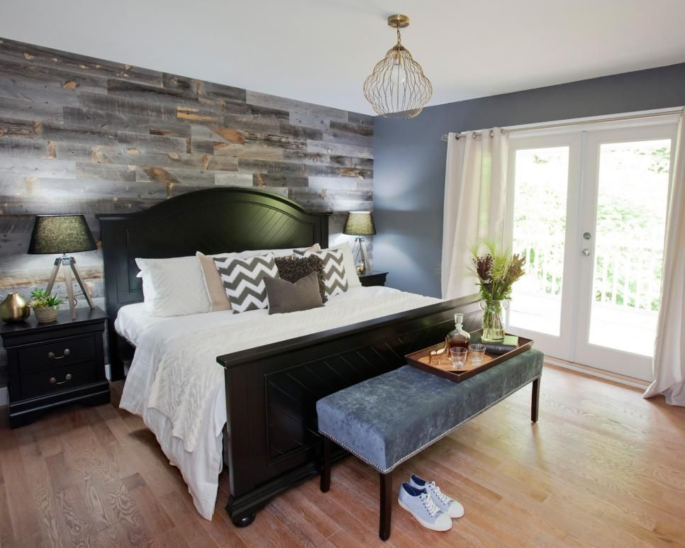 As Seen On Hgtv S Love It Or List It Too Jillian S Design For This Bedroom Blends Masculine El Wood Walls Bedroom Master Bedroom Remodel Small Bedroom Remodel