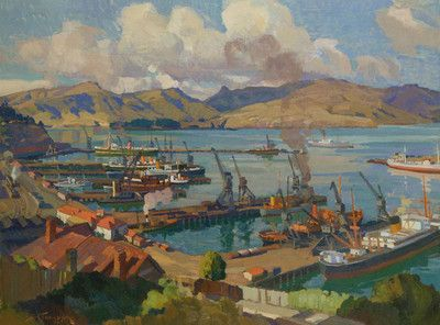 Lyttelton from the Bridle Path - Sydney Lough Thompson was living in Christchurch in 1936 when he was commissioned to paint the Port of Lyttelton. The work captures both the beauty of the harbour and the activity of the port's prosperous shipping trade. Thompson has modified the 1930s hard-edged style with elements of Impressionism. On the hills across the harbour are the traditional ochre and blues, which by this time had come to be accepted as Canterbury landscape colours.