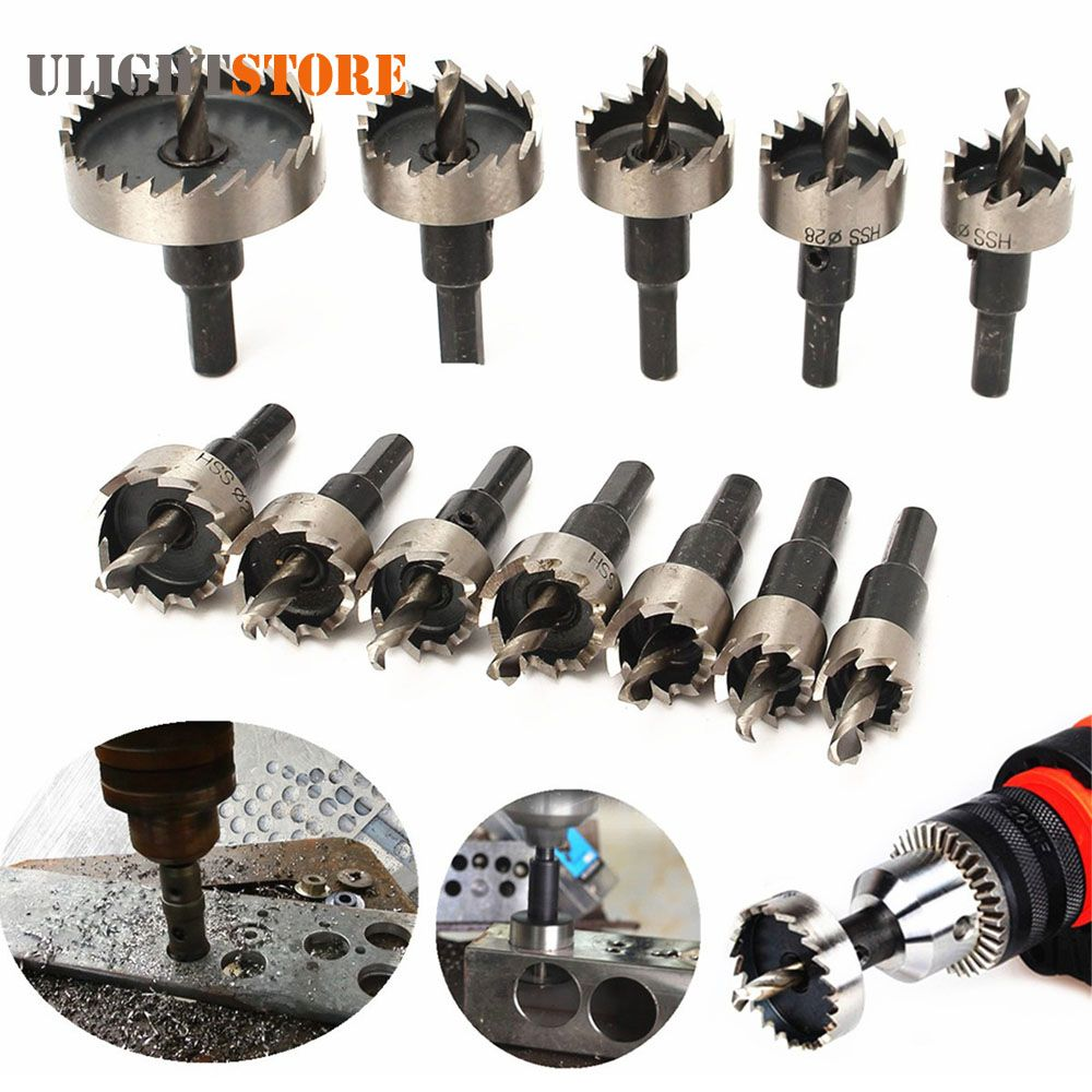 12pcs 15 50mm Hss Drill Bit Set Holesaw Hole Saw Cutter Drilling Kit Hand Tool For Wood Stainless Steel Metal Alloy Cutti Metal Cutter Drill Bit Sets Hole Saw