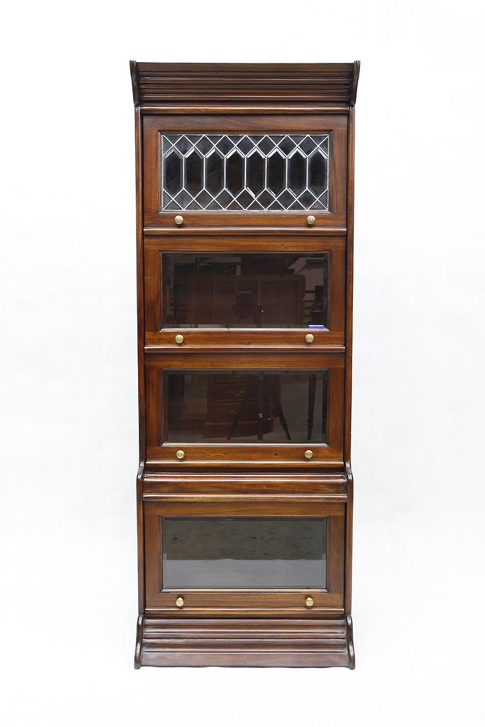 Mahogany Wood 4 Door 24 Wide Barrister Bookcase With Etsy In 2020 Barrister Bookcase Mahogany Wood Leaded Glass