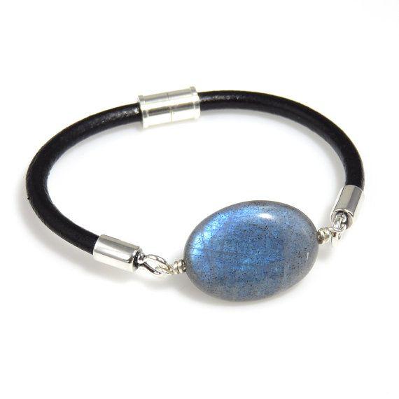 "Blue Flash Labradorite, Sterling Silver, and Leather Bracelet - 7-1/8"""