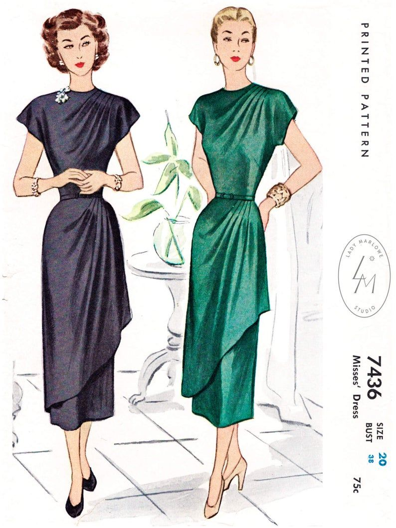 1940 Vintage Sewing Pattern 1940s Cocktail Dress Sewing Etsy Sewing Dresses Wedding Dress Sewing Patterns 1940s Evening Dresses [ 1059 x 794 Pixel ]