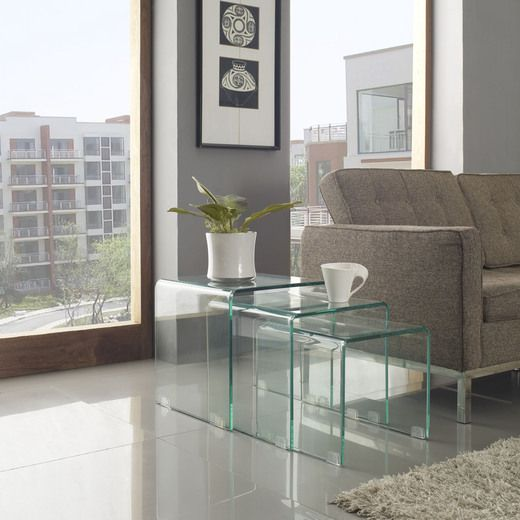 Modway Cascade Coffee Table in Clear