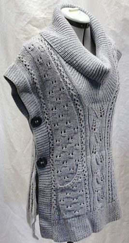 Free Pattern Tabard Vestshawl Collar Slipover By Lion Brand Yarn