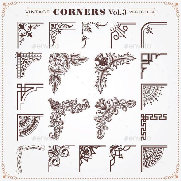 Vintage Style Design Elements Corners 3 Design Elements Art Nouveau Illustration Floral Border