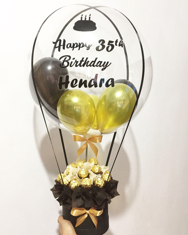 Hot air balloon bouquet with ferrero rocher Buket