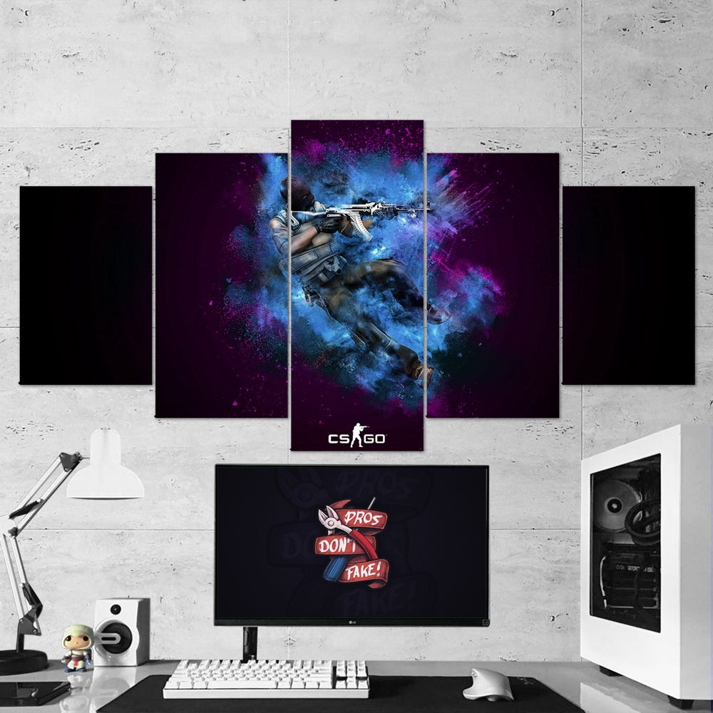 Cs Go Counter Strike Global Offensive 17 5 Piece Canvas Wall Art Gaming Canvas Gaming Wall Art Modern Wall Art Canvas Canvas Wall Art Set