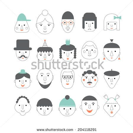 20 different funny faces. Vector set.  - stock vector