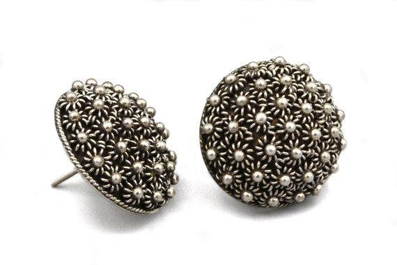 a6bcc0469 Etruscan Flowers Earrings, Large Stud Earrings, Round Dome Earrings,  Antique 1950s Jewelry, 925 Sterling Silver, Minimal Button Earrings