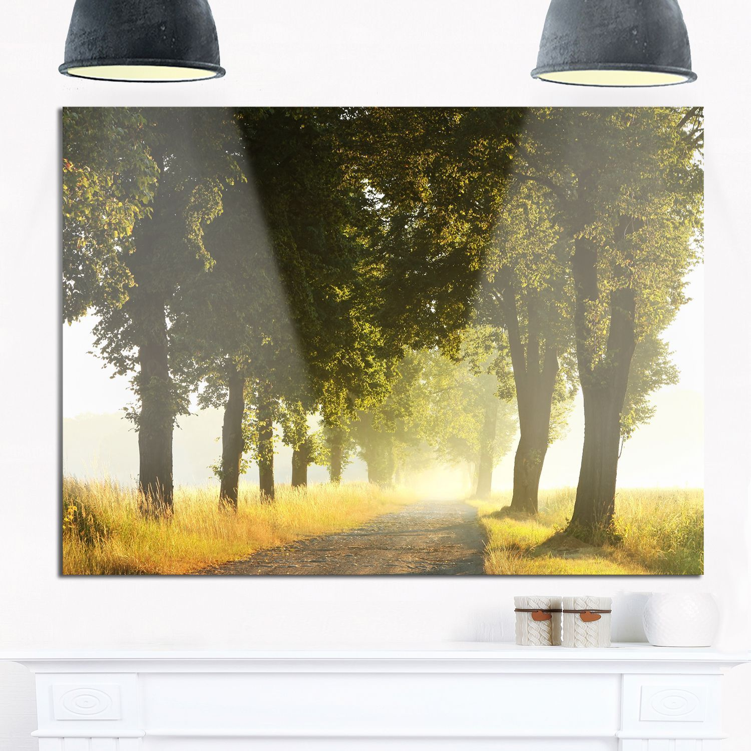 Country Road Below Trees - Landscape Photo Glossy Metal Wall Art ...