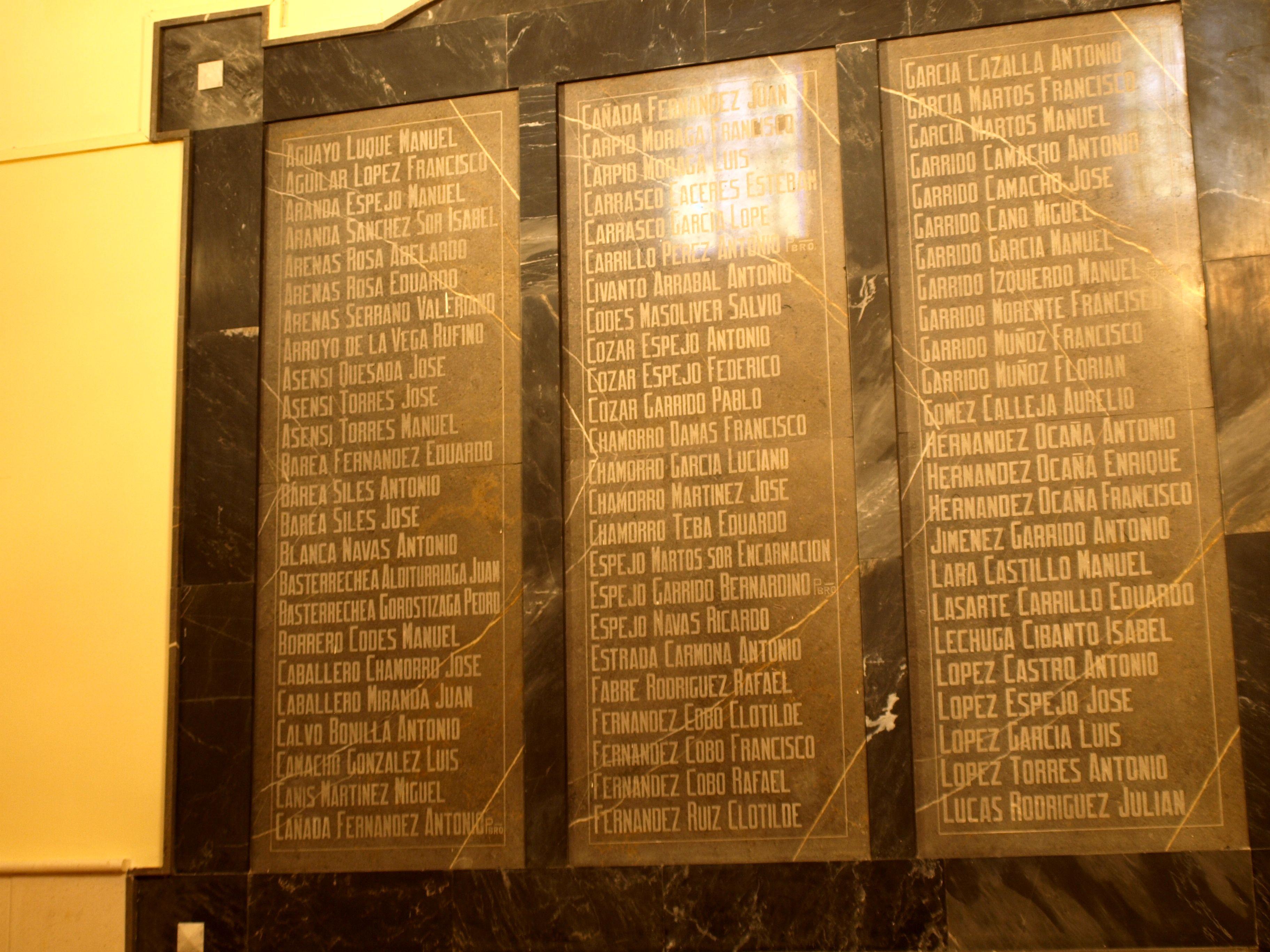 recuerdo de los represaliados durante la guerra civil en España