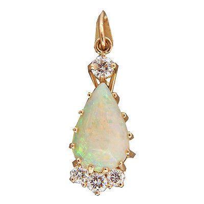 Vintage 1.50ct Fine Pear Opal 14k Yellow Gold Handmade .30ct Diamond Pendant