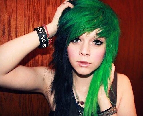 Half Black Half Green D Awesome Alternative Hair Emo Scene Hair Green Hair