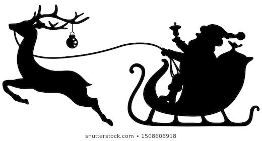 Black Santa Claus In Sleigh One Reindeer With Bauble Reindeer Silhouette Santa Sleigh And Reindeer Silhouette Silhouette Drawing