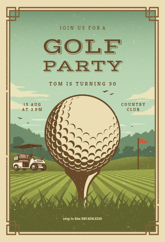 retro golf invitation template customize add text and photos