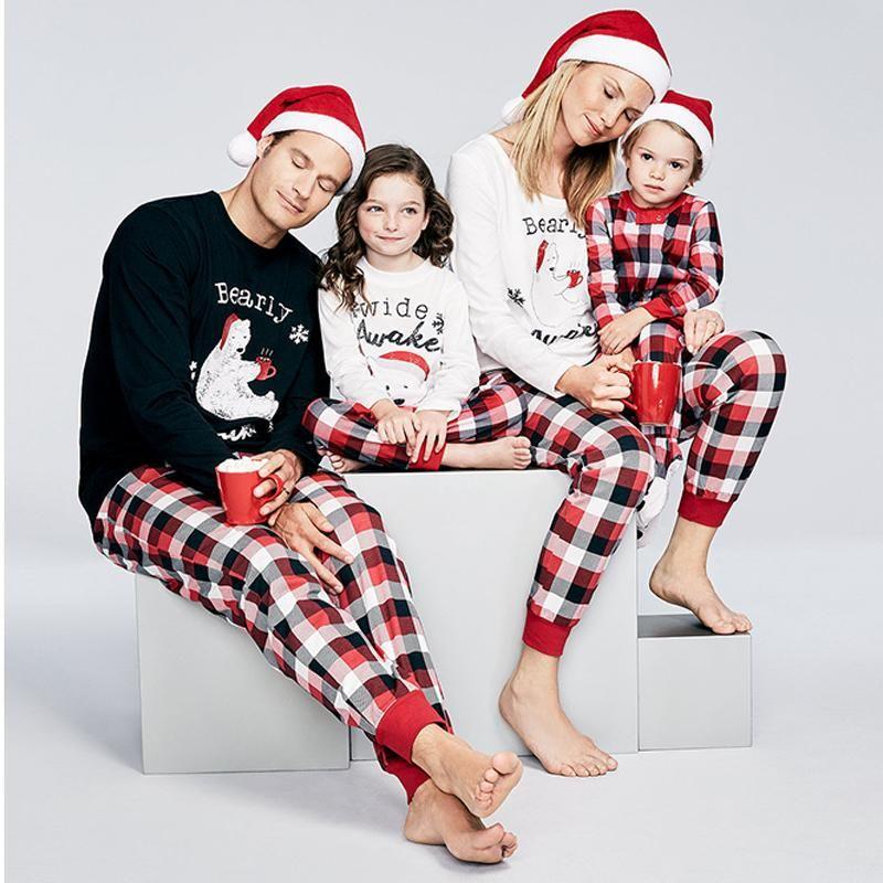 Fashion Christmas Plaid Print Casual Pajamas Set Pyjama sets