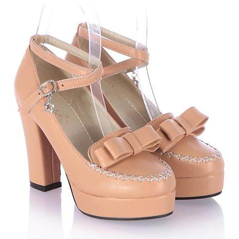 Sweet Women's Pumps With Bowknot and Cross-Strap Design