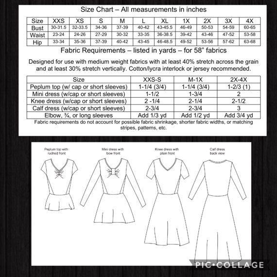 PDF Sewing Pattern Leia Dress Peplum Top Mini Dress Knee to 4X