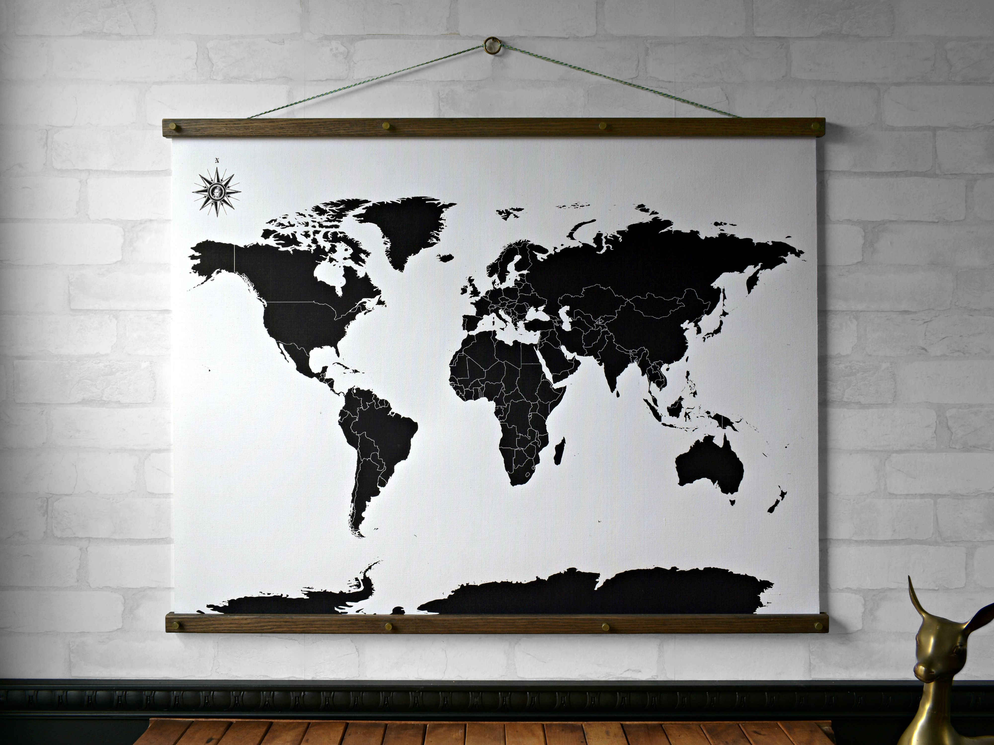 World Map Black and White Wall Hanging, Canvas Print with ... on map mirror, map skirt, map accessories, map of downtown denver rtd, map bag, map scrapbook, map chair, map hwy 224 clackamas 32nd, map plastic,