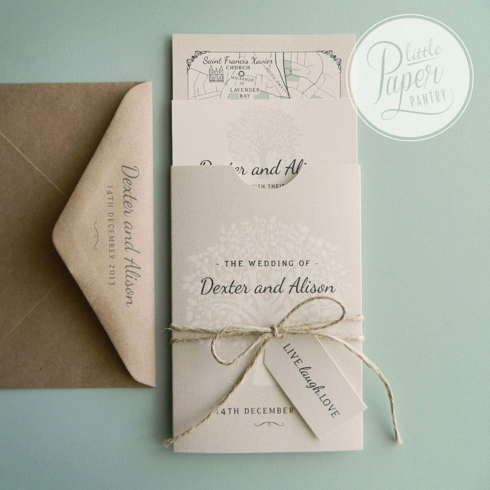 A6 pocket invite and wedding map with a tree of life design, natural ...
