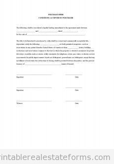Sample Printable Purchase Offer Conditions Accepted By Purchaser