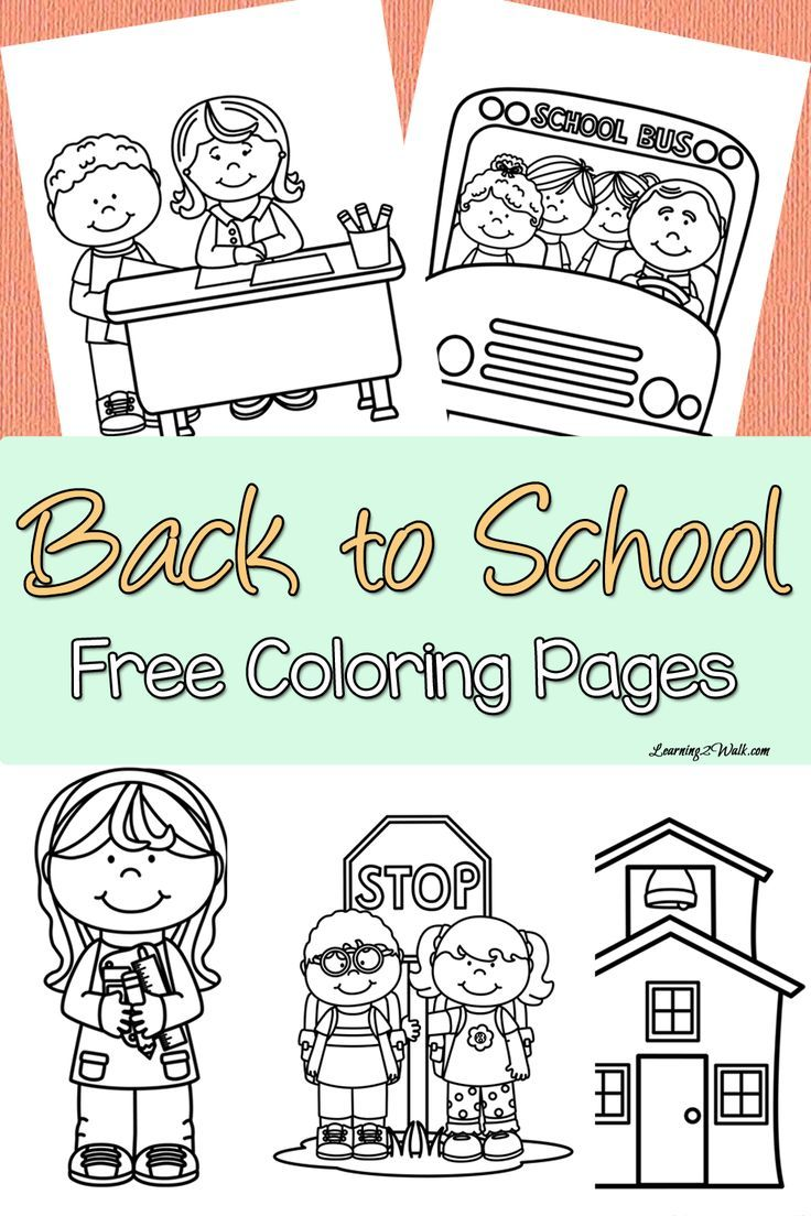 Back to School Free Coloring Page Set | School, Free and Pre-school