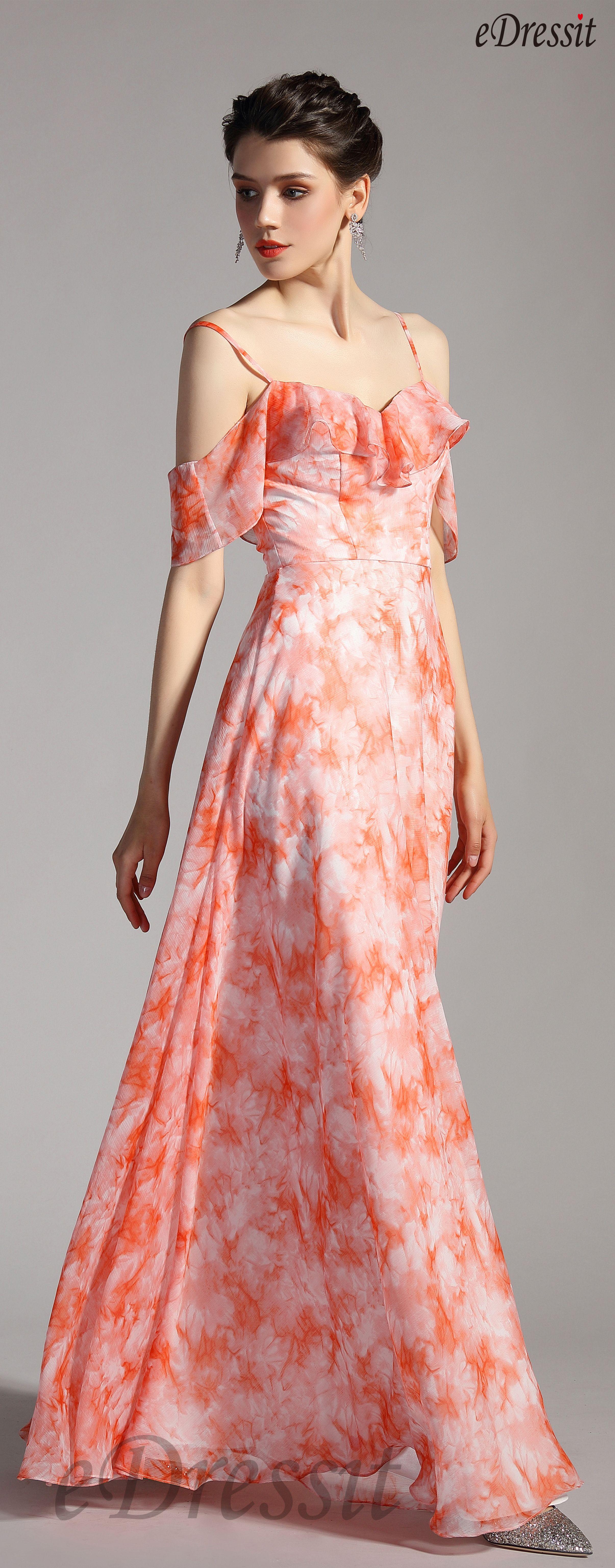 Edressit Spaghetti Off Shoulder Printed Summer Party Dress 00206968 Summer Party Dress Party Dress Dresses [ 6146 x 2411 Pixel ]