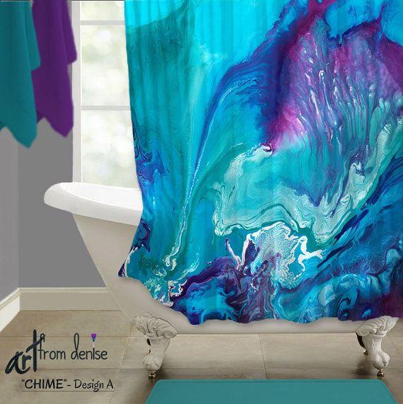Aqua Blue And Purple Shower Curtain Navy Teal Plum