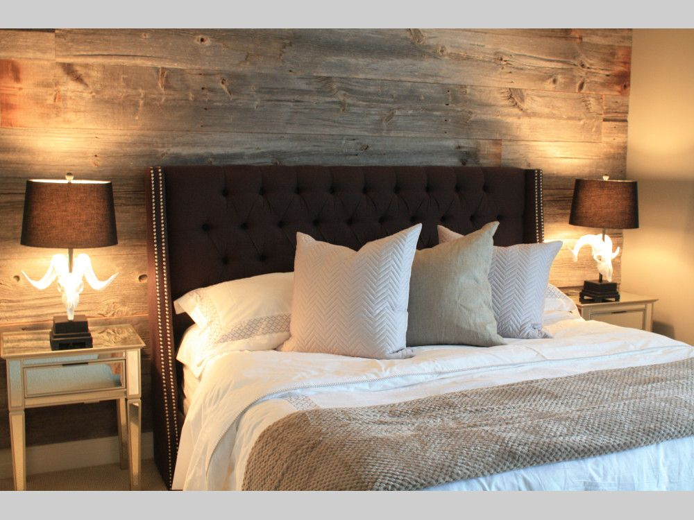 A bland bedroom is transformed into a casual yet polished showcase with  barn board used to. A bland bedroom is transformed into a casual yet polished showcase