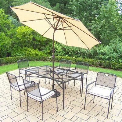 Oakland Living Charleston 7 Piece Dining Set with Cushions Umbrella Color: Beige