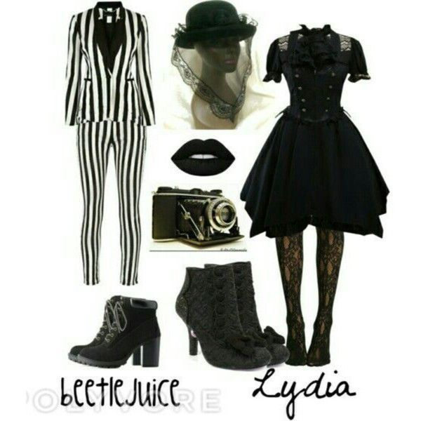 Beetle juice and Lydia inspired costumes by emo-god on Polyvore  sc 1 st  Pinterest & Beetle juice and Lydia inspired costumes | Beetle juice Costumes ...