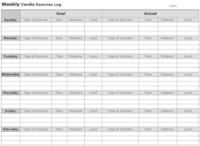 Household Weekly Cardio Exercise Log health\fitness Pinterest - weekly log template