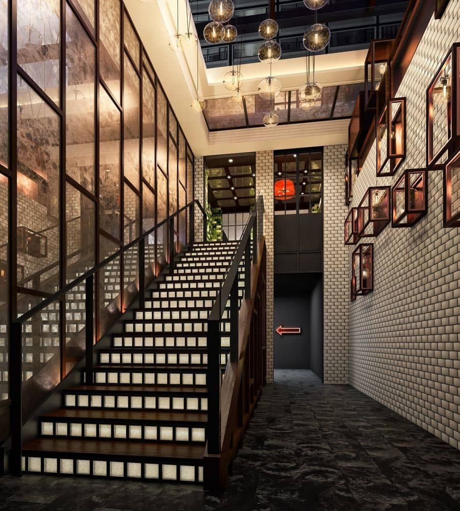 Staircase at the Moxy Times Square Hotel designed by Yabu Pushelberg ...