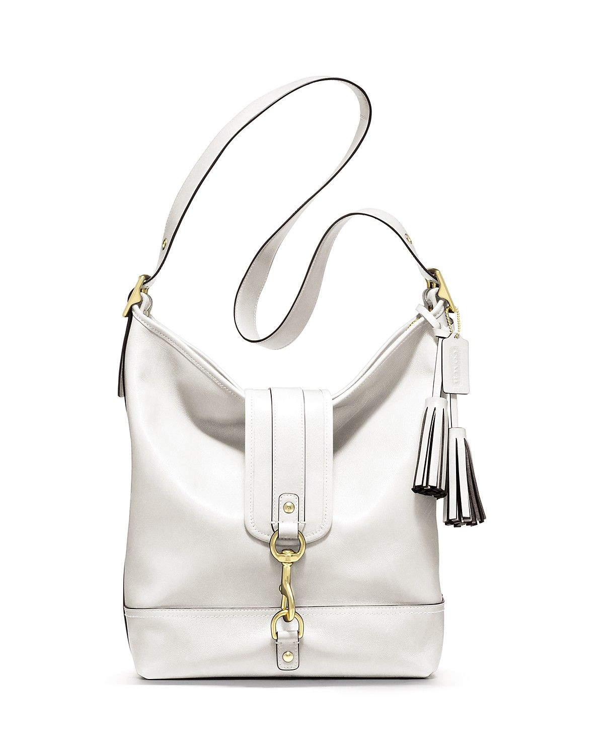 Goes with a sizzling summer: white hot!  COACH Legacy Leather Large Dogleash Duffle | Bloomingdale's