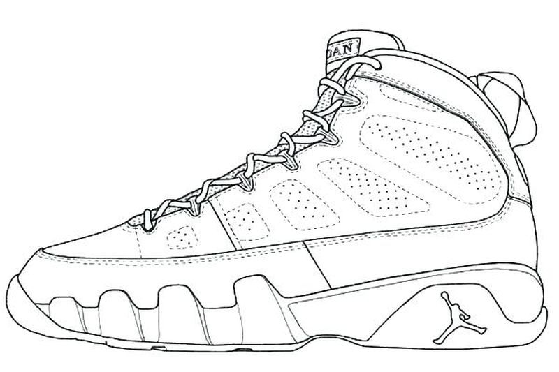 Coloring Pages Of Basketball Players In 2020 Jordan Coloring Book Shoe Template Sneakers Drawing