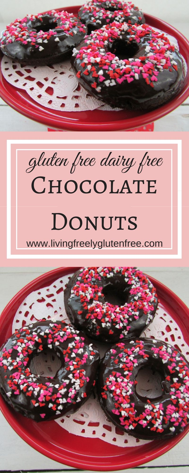 Delicious gluten free and dairy free chocolate donuts are perfect for a brunch or just because. www.livingfreelyglutenfree.com