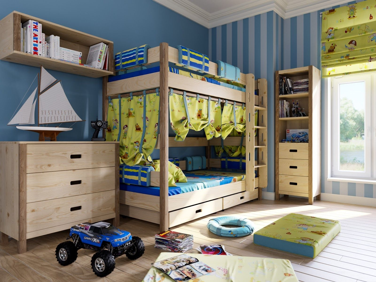 Furniture, Delightful Childrenu0027s Room Themes With Natural Wooden Bunk Bed  Also Wooden Floating Book Case And Wooden Chest Of Drawers Design Ideas:  Lovely ...