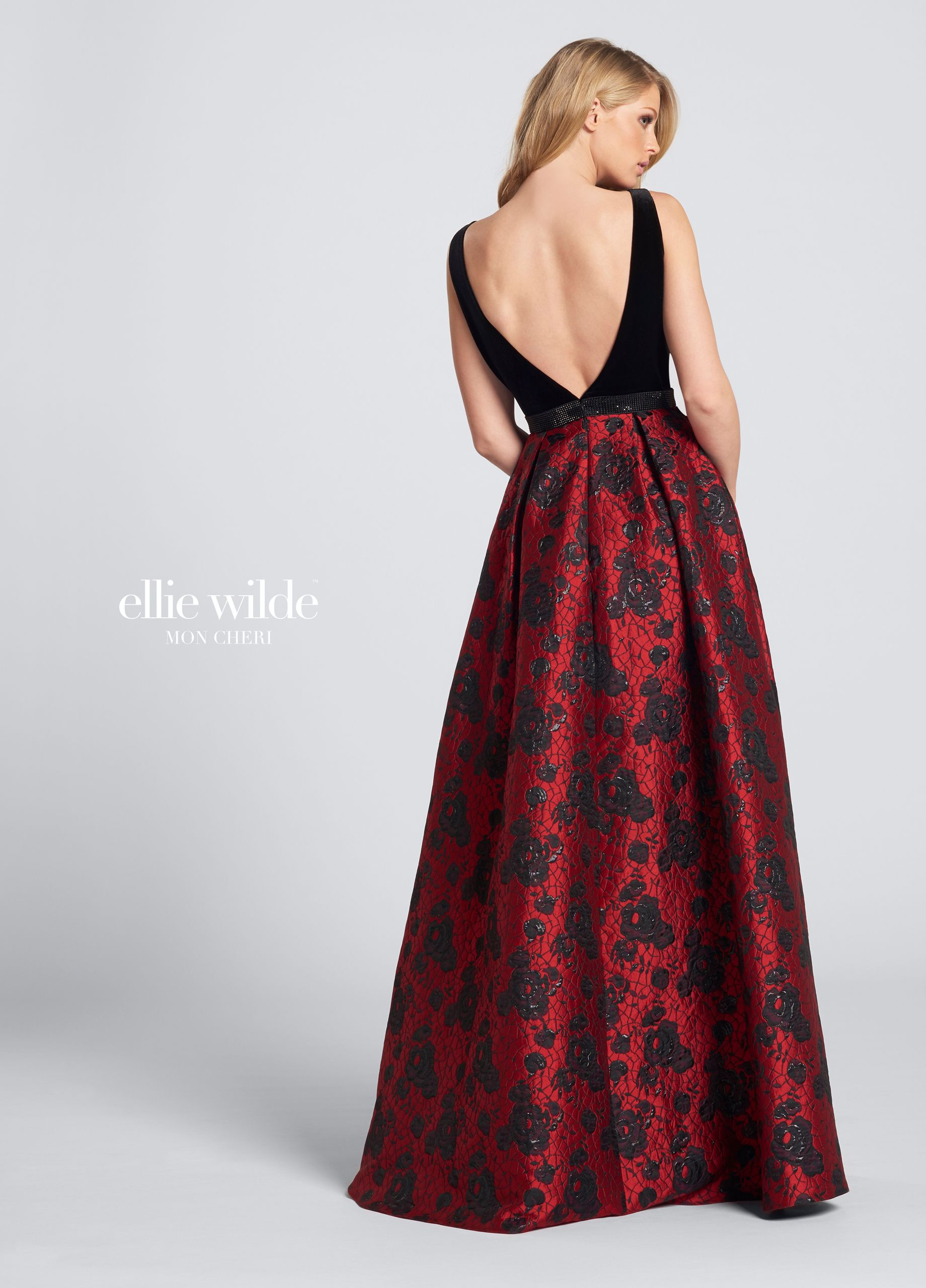 92b84bacfde5 Ellie Wilde EW21721 - Velvet bodice evening dress. Sleeveless Jacquard full  A-line gown with front and back deep V-necklines, velvet bodice with heat  set ...